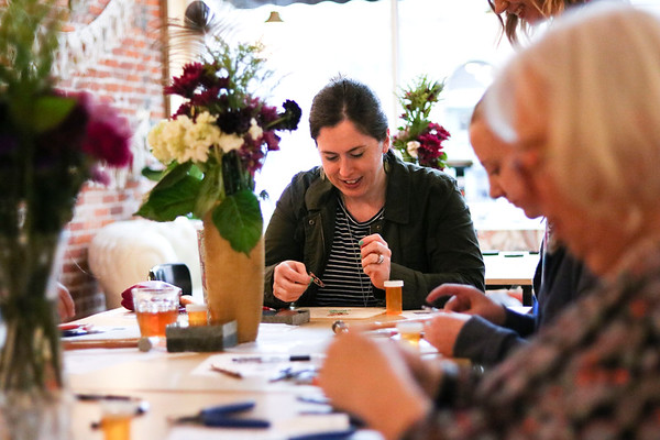LEANDRA BEABOUT | THE GOSHEN NEWS<br /> Mary Null of Goshen participated in a Saturday jewelry workshop hosted by the Beaded Peacock at Blank Space.