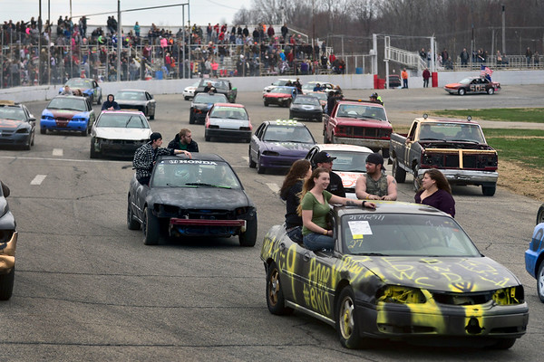 BEN MIKESELL | THE GOSHEN NEWS<br /> The Night of Demolition kicks off the first racing night of the season with a parade and the national anthem Saturday at New Paris Speedway.
