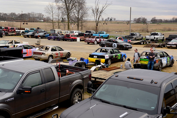BEN MIKESELL | THE GOSHEN NEWS<br /> Racers in the pit get ready for the Night of Demolition Saturday evening at New Paris Speedway.