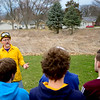 BEN MIKESELL | THE GOSHEN NEWS<br /> Goshen College professor Ryan Sensenig briefs his students on how to properly burn the prairie behind him April 13 on Goshen College's campus.