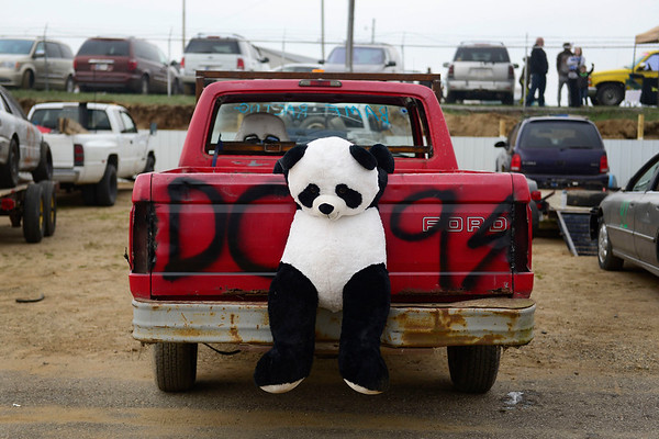 BEN MIKESELL   THE GOSHEN NEWS<br /> A stuffed panda rests on the back of a pickup truck in the pit before Saturday's Night of Demolition at New Paris Speedway.