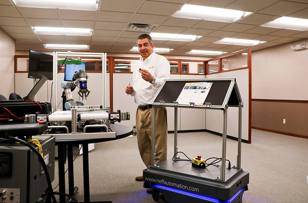"LEANDRA BEABOUT | THE GOSHEN NEWS<br /> Riad ""Ray"" Ardahji, founder of Michiana Lean and professor at Indiana Tech, explains how the MIR and Universal Robots machines could increase efficiency in manufacturing facilities."