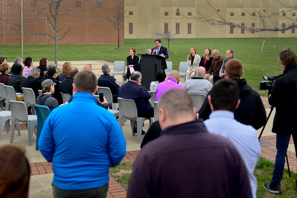 BEN MIKESELL | THE GOSHEN NEWS<br /> Circuit court judge Mike Christofeno speaks during the ground breaking ceremony for the Elkhart County Juvenile Detention and Intake Center Tuesday at the Elkhart County Corrections Complex.