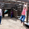 SHEILA SELMAN | THE GOSHEN NEWS<br /> Saige Kramer, 6, Wakarusa, makes her way across the monkey bars while grandpa, Charlie Jones, Elkhart, watches Monday afternoon at Tommy's Kids Castle at Shanklin Park in Goshen.