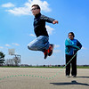 BEN MIKESELL | THE GOSHEN NEWS<br /> Fourth-grade student Caleb Iddings leaps into the air while jumping rope during recess Thursday at Shipshewana Scott Elementary School.