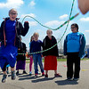 BEN MIKESELL | THE GOSHEN NEWS<br /> Fourth-grade student Gretchen Bontrager leaps into a double dutch jump rope routine during recess Thursday at Shipshewana Scott Elementary School. This is the first year students at Shipshewana Scott have formed a jump rope club as a way to stay active.