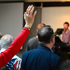 BEN MIKESELL | THE GOSHEN NEWS<br /> Church-goers are led in prayer and worship during the National Day of Prayer noon service Thursday at Life Spring Community Church in Goshen.