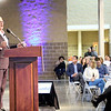 SHEILA SELMAN | THE GOSHEN NEWS<br /> Frank Hugelmeyer, president of the RV Industry Association, talks to RV industry leaders at the sixth annul RV Industry Power Breakfast Thursday morning at the Northern Indiana Event Center in Elkhart.