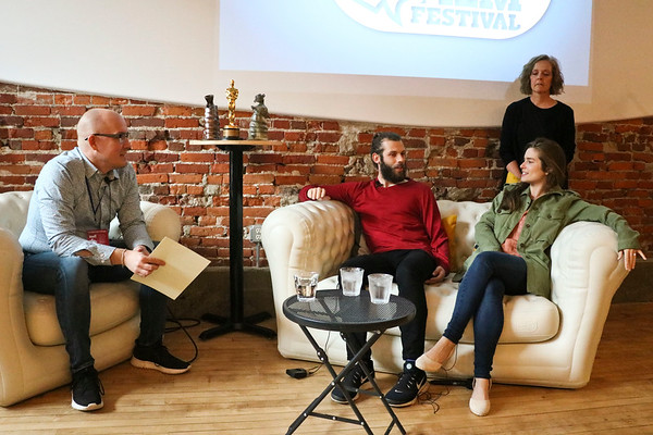 """LEANDRA BEABOUT   THE GOSHEN NEWS<br /> Dave Kendall, left, acted as moderator for the """"Road to the Oscars"""" morning session with Chris Overton and Rachel Shenton."""