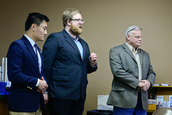 BEN MIKESELL | THE GOSHEN NEWS<br /> The three candidates for Goshen City Councilman District 2, from left, Benjamin Rogers, Zachary Bontrager and Doug Nisley answer questions during a special caucus Tuesday at the Elkhart County Republican Party Headquarters in Goshen.