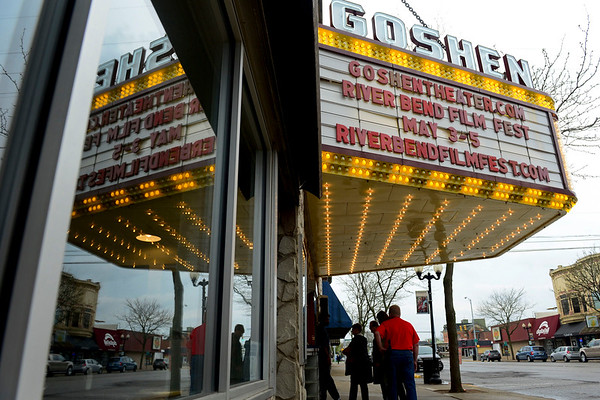 BEN MIKESELL | THE GOSHEN NEWS<br /> People enter the Goshen Theater to see the first film of the 2018 River Bend Film Festival Thursday.