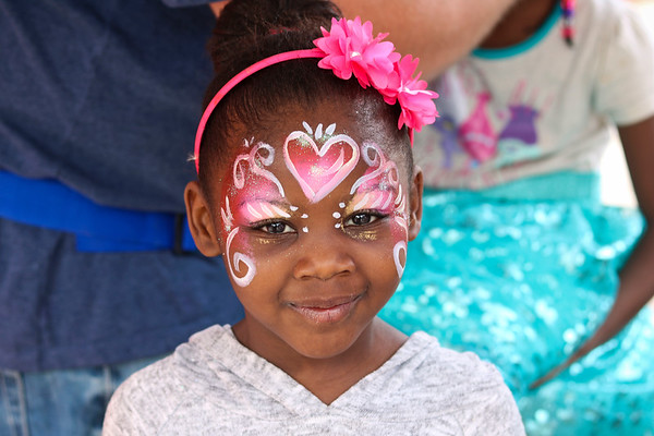 """LEANDRA BEABOUT   THE GOSHEN NEWS<br /> Journii Holiday, 6, got her face painted at Goshen's """"Taste of the Festival"""" First Friday event."""