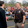 "BEN MIKESELL | THE GOSHEN NEWS<br /> LaGrange County sheriff Gerardus Smith runs junior Brandon Eash through a drunk driving test during a mock crash Friday afternoon at Westview Jr.- Sr. High School. ""This is what we do every day,"" Smith said. The mock crash was intended to show juniors and seniors the dangers of drinking and driving the day before their Prom dance Saturday."