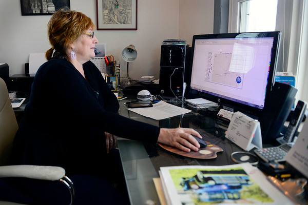 BEN MIKESELL   THE GOSHEN NEWS<br /> Linda Pieri uses her background in graphic design to draw up diagrams, which help when translating drawings on paper to life-size, wooden cutouts.