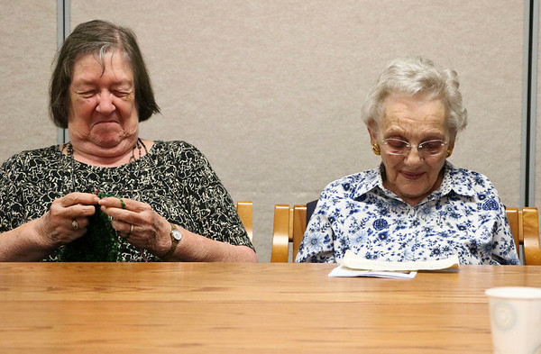 LEANDRA BEABOUT | THE GOSHEN NEWS<br /> Marilyn Wallace and Marion Ketcham knit together at Greencroft Goshen's Community Center Monday afternoon.