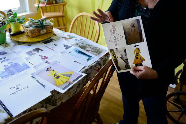 BEN MIKESELL | THE GOSHEN NEWS<br /> Middlebury-based artist Linda Pieri uses pictures as inspiration for her wooden cutouts, which are sponsored by local businesses.