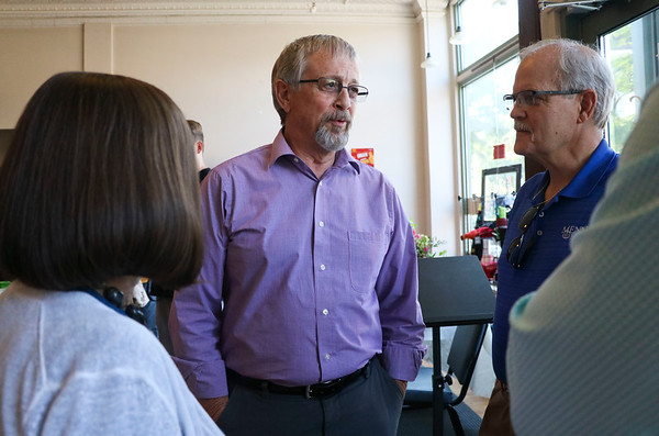 """LEANDRA BEABOUT   THE GOSHEN NEWS<br /> Retiring Lacasa President and CEO Larry Gautsche, center, visits with friends and coworkers at his retirement party Friday in Goshen. Later in the evening, Goshen Mayor Jeremy Stutsman planned to give Gautsche an honorary """"key to the city."""" Indiana Senator Blake Doriot was also scheduled to present Gautsche with a Distinguished Hoosier Award."""