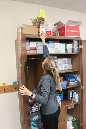 JOHN KLINE | THE GOSHEN NEWS<br /> Waterford Elementary School teacher Courtney Gordon busily works to get her room ready for the new school year during teacher prep last Thursday afternoon.