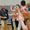 BEN MIKESELL | THE GOSHEN NEWS<br /> Art teacher Jason Keiser is introduced during the school-wide assembly for the first day of school Wednesday morning at Westview Elementary School.