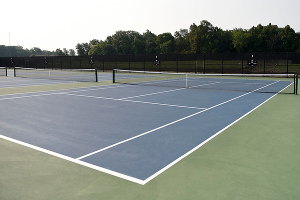 BEN MIKESELL | THE GOSHEN NEWS<br /> The new tennis courts installed at NorthWood High School over the summer.