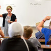BEN MIKESELL | THE GOSHEN NEWS<br /> Principal Juli Leeper gives instructions during her visit with Steve Wohlers' fifth-grade class Wednesday morning at Westview Elementary School in Emma.