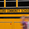 BEN MIKESELL | THE GOSHEN NEWS<br /> Students walk off the busses ready for the first day of school Wednesday morning at Concord East Side Elementary School.