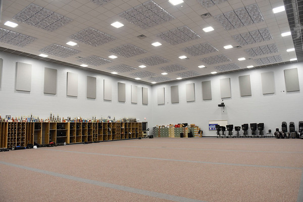 BEN MIKESELL | THE GOSHEN NEWS<br /> The band room in the performing arts wing at NorthWood High School has stripes on the carpet marked every five yards to help visualize performing on football fields.