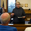 BEN MIKESELL | THE GOSHEN NEWS<br /> Wanda Hoffman with the Goshen Historical Society gives a tour through the Elkhart County Courthouse Thursday morning inside one of the superior court rooms.