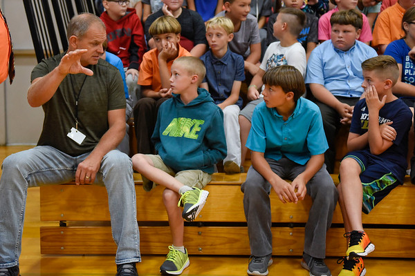 BEN MIKESELL   THE GOSHEN NEWS<br /> Fifth-grade teacher Steve Wohlers talks to his class during a school-wide assembly Wednesday morning at Westview Elementary School.