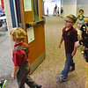 BEN MIKESELL | THE GOSHEN NEWS<br /> Students in Taylor Sholl's kindergarten class enter the cafeteria for lunch during the first day of school Wednesday at Parkside Elementary School in LaGrange.