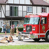 Roger Schneider | The Goshen News<br /> Bristol, Ind. firefighters are investigating the cause of an apartment fire that started at 1:42 p.m. Saturday. Wynona Dennis said she left her Golfview Manor apartment for a few minutes to check on one of her two sons at a neighbor's apartment and when she returned home the apartment was filled with smoke. Police and firefighters evacuated residents from the two-story building as a precaution. No one was injured in the blaze.