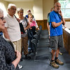 BEN MIKESELL | THE GOSHEN NEWS<br /> People listen to bailiff Geri Krueger during a tour of the Elkhart County Courthouse Thursday morning in Goshen.