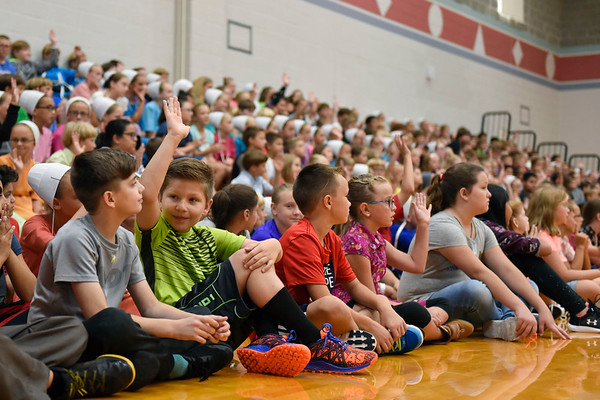 BEN MIKESELL | THE GOSHEN NEWS<br /> Fifth- and sixth-grade students participate in a school-wide assembly for the first day of school Wednesday morning at Westview Elementary School.
