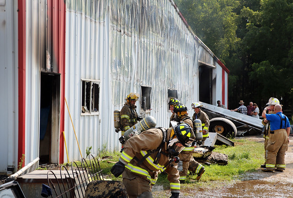 AIMEE AMBROSE | THE GOSHEN NEWS  Fire destroyed the Marway Welding shop at a farm, 27097 C.R. 50, near Nappanee Monday morning.