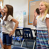BEN MIKESELL | THE GOSHEN NEWS<br /> Third-grade students Trinity Avila, left, and Abigail Ogle, right, dance like robots during a classroom activity in Carly Matthes' class, teaching students not to read like robots during the first day of classes Monday afternoon at Clinton Christian School is Goshen.