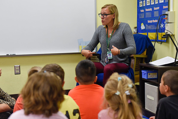 BEN MIKESELL | THE GOSHEN NEWS<br /> First grade teacher Tana Hardy speaks to her class on the first day of school Wednesday morning at Chandler Elementary School.