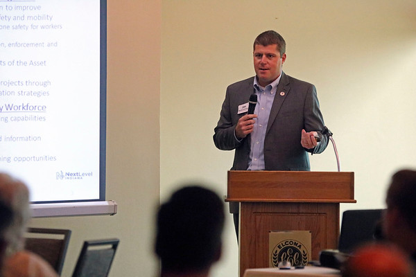 GEOFF LESAR | THE GOSHEN NEWS<br /> <br /> Indiana Department of Transportation Commissioner Joe McGuinness addresses a crowd Tuesday afternoon during the 22nd annual INDOT luncheon at Elcona Country Club in Bristol.