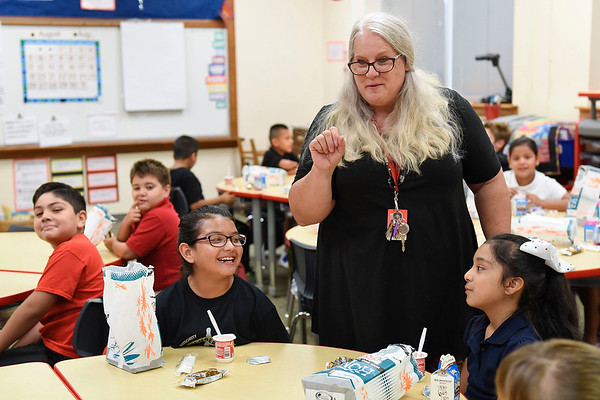 BEN MIKESELL | THE GOSHEN NEWS<br /> Third grade teacher Carol Diaz learns the names of her new students on the first day of school Wednesday morning at Chamberlain Elementary School.