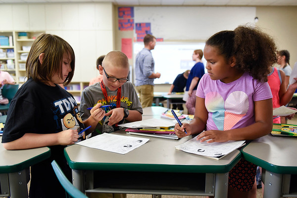 BEN MIKESELL | THE GOSHEN NEWS<br /> Students in Clay Norris' fourth grade class play a game to learn each other's names during the first day of school Wednesday morning at Chandler Elementary School.