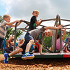 LEANDRA BEABOUT | THE GOSHEN NEWS<br /> First grade students at Benton Elementary School enjoy recess on the first day of the school year.