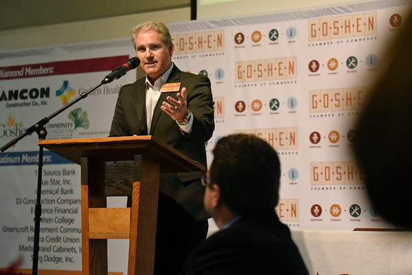 BEN MIKESELL | THE GOSHEN NEWS<br /> Goshen Chamber of Commerce chair Jim Caskey speaks during the annual luncheon Thursday at Maple City Chapel.