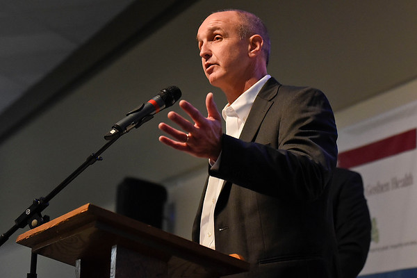 BEN MIKESELL | THE GOSHEN NEWS<br /> Interra Chief Strategy Officer David Birky speaks during the Goshen Chamber of Commerce annual luncheon Thursday at Maple City Chapel.