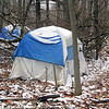 Roger Schneider | The Goshen News<br /> Two of three tents in a Goshen homeless camp are pictured.