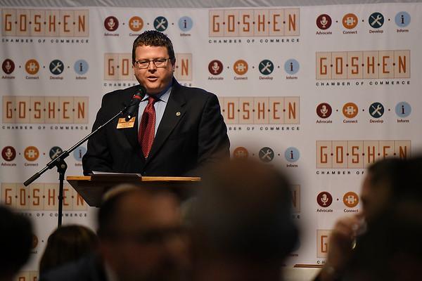 BEN MIKESELL | THE GOSHEN NEWS<br /> Goshen Chamber of Commerce President Nick Kieffer speaks during the annual luncheon Thursday at Maple City Chapel.