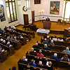 BEN MIKESELL | THE GOSHEN NEWS<br /> Current and past members of Topeka Mennonite Church gather for a reunion Dec. 9 at the church for one final service in the main chapel. Nearly 70 people attended the reunion.