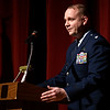BEN MIKESELL | THE GOSHEN NEWS<br /> Lieutenant Colonel John Travieso speaks during captain Troy Kinchen's promotion ceremony Saturday at Goshen High School. Kinchen, a 2005 graduate of GHS, works with Travieso at the Pentagon.