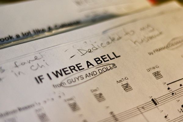 LEANDRA BEABOUT | THE GOSHEN NEWS<br /> Carrie Lee Bland Kendall scribbles personal notes and reminders on sheet music for upcoming performances.