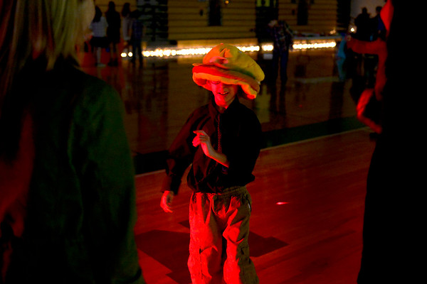 BEN MIKESELL | THE GOSHEN NEWS<br /> Northridge Middle School sixth-grader Kolton Wagoner wears a cheeseburger hat while getting his groove on Wednesday during the fourth annual Special Needs Valentine's Day Dance at Northridge Middle School.