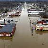 BEN MIKESELL | THE GOSHEN NEWS<br /> Water flooded U.S. 33 Wednesday, causing road closures between Indiana Avenue and Chicago Avenue in Goshen.