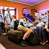LEANDRA BEABOUT | THE GOSHEN NEWS<br /> After seeing the new teen room at the Middlebury Boys & Girls Club, everyone immediately made themselves comfortable. Several said that the new sectional couch is their favorite part.